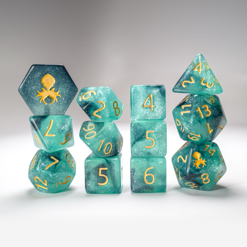 Black Ice 12pc Glimmer RPG Dice Set with Gold Ink
