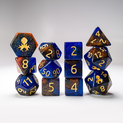 12pc Copper River Glimmer RPG Dice Set with Gold Ink