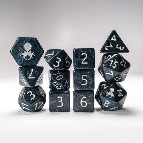 12pc Abyss Glimmer RPG Dice Set with Silver Ink