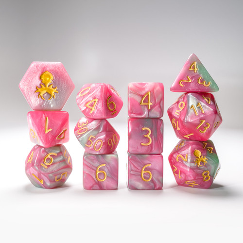 Flamingo Paradice 12pc RPG Dice Set with Gold Ink