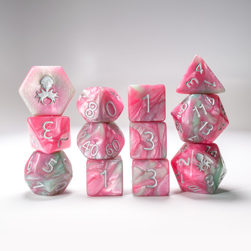 Flamingo Paradice  12pc RPG Dice Set with Silver Ink