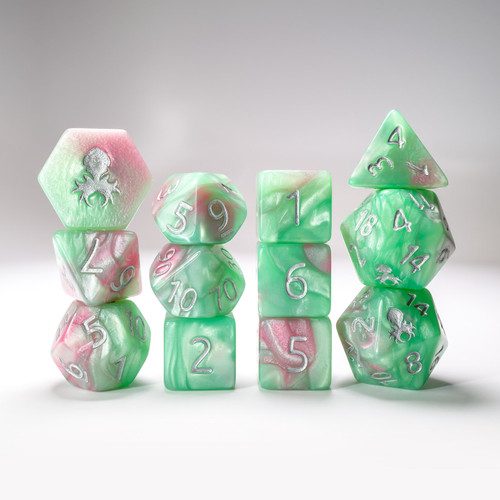 Miami Dice 12pc RPG Dice Set with Silver Ink