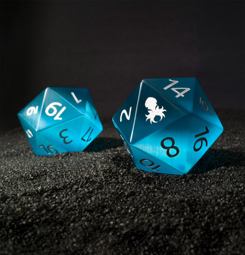 40mm Blue Cat Eye Semi-Precious Single D20 with Kraken Logo