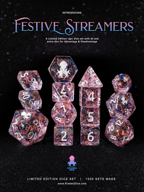 Festive Streamers 14pc Limited Edition Dice Set