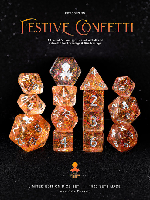 Festive Confetti 14pc Limited Edition Dice Set
