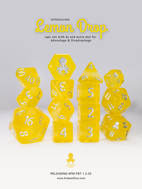 Lemon Drop 14pc Silver Ink Dice Set With Kraken Logo