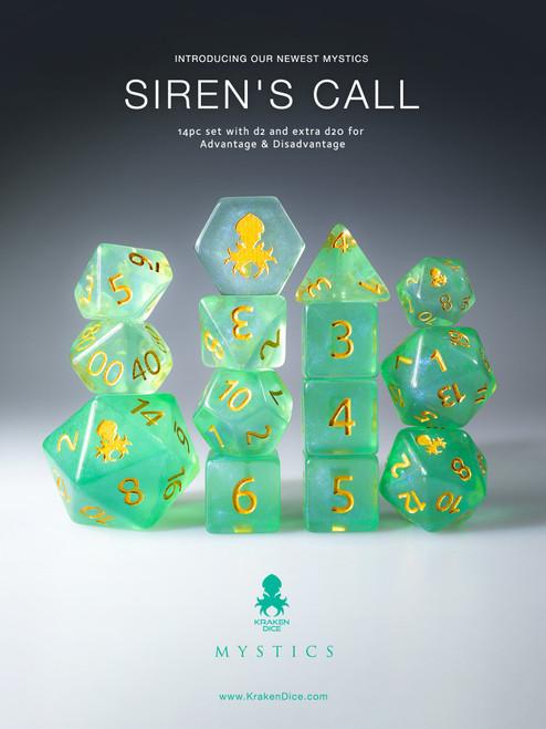 Siren's Call 12pc Gold Ink Dice Set With Kraken Logo