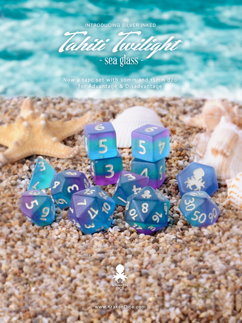 Tahiti Twilight 12pc Silver Ink Matte Dice Set With Kraken Logo