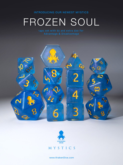 Frozen Soul 12pc Gold Ink Dice Set With Kraken Logo