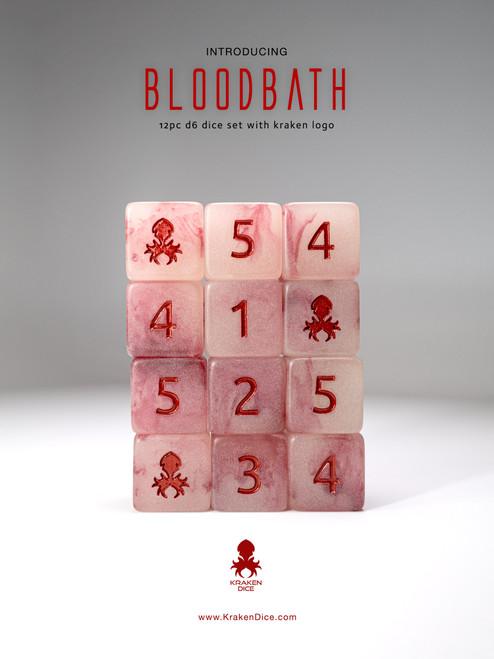 Bloodbath 12pc D6 Glow in the Dark Kraken Logo dice set