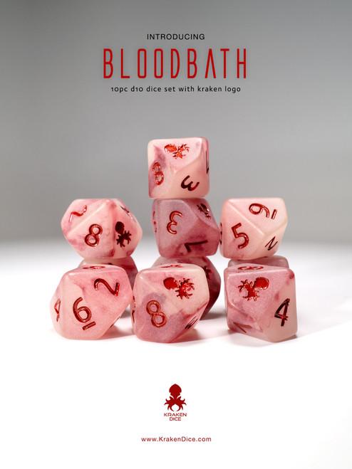 Bloodbath 10pc D10 Glow in the Dark Kraken Logo dice set