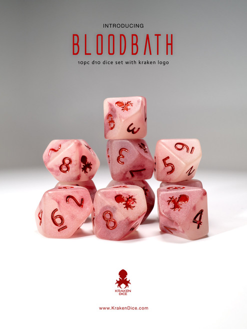 Bloodbath 10pc D10 Glow in the Dark Kraken Logo dice set