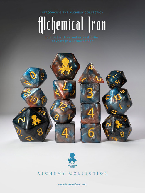 Alchemical Iron 14pc Blue and Red Gold Ink Dice Set