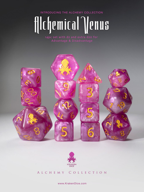 Alchemical Venus 12pc Pink and White Gold Ink Dice Set With Kraken Logo