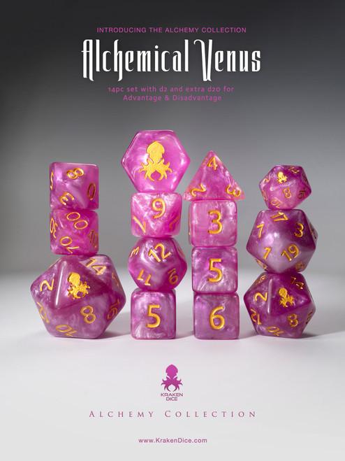 Alchemical Venus 14pc Pink and White Gold Ink Dice Set With Kraken Logo