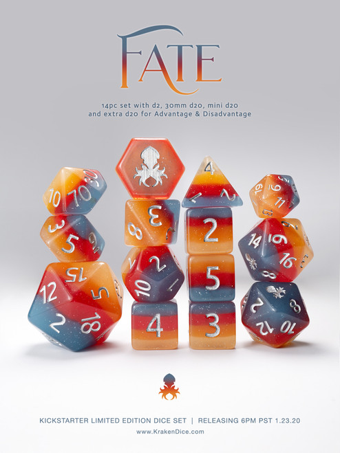 """Limited Edition 14pc """"FATE"""" Dice Set for TTRPGs"""