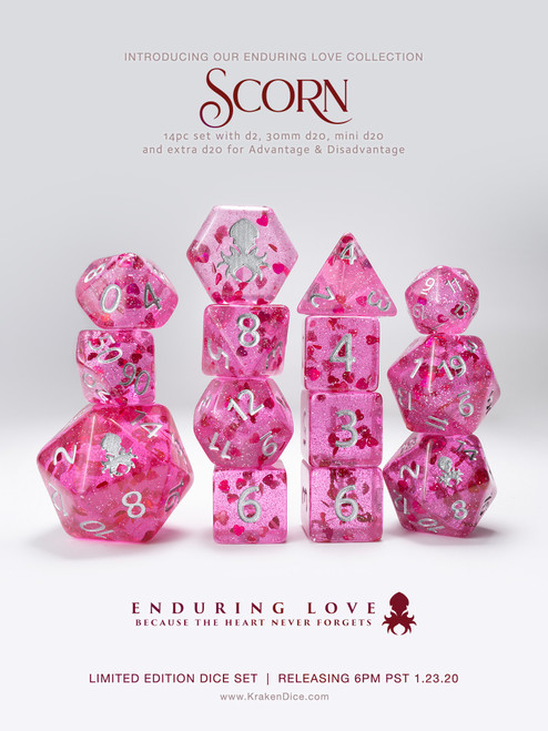 Scorn - Purple with Red Hearts 14pc Limited Edition Dice Set