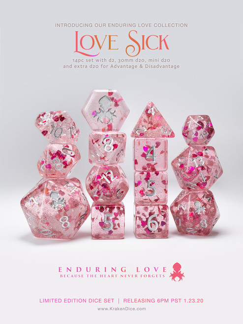 Love Sick - Pink with Red Hearts 14pc Limited Edition Dice Set