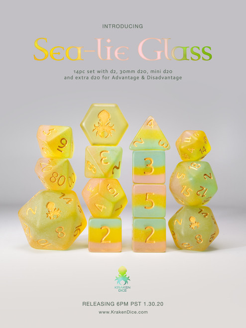Sea-lie Glass 12pc Gold Ink Matte Dice Set