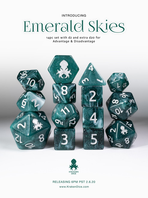 Emerald Skies 12pc Polyhedral Dice Set with Silver Ink