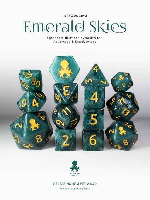 Emerald Skies 12pc Polyhedral Dice Set with Gold Ink