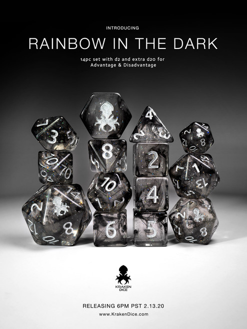 Rainbow In The Dark Vapor Dice Set with Silver Ink