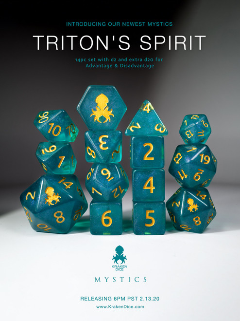 Triton's Spirit 12pc Polyhedral Dice set with Gold Ink