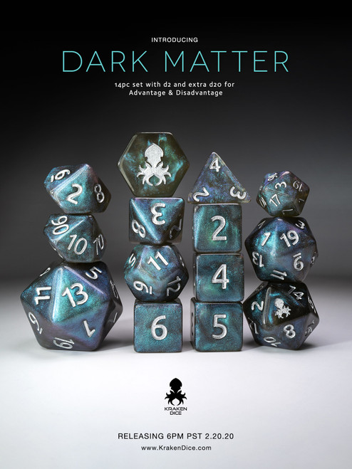 Dark Matter Blue Shimmer 12pc Silver Ink Dice Set