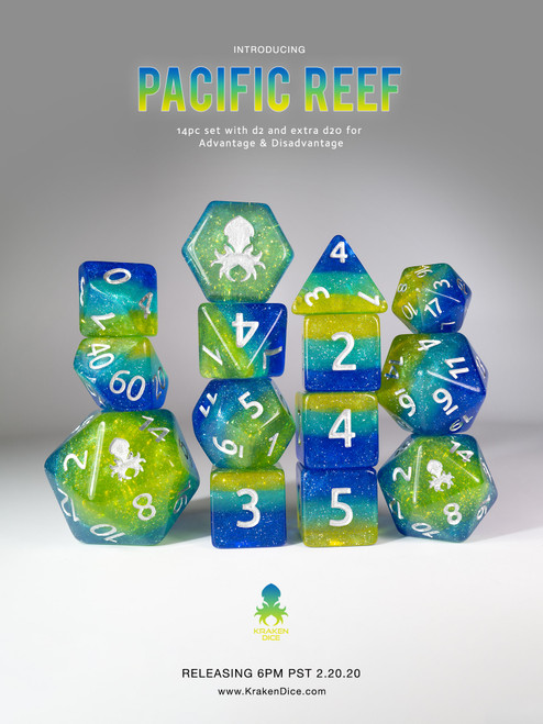 Pacific Reef 12pc Silver Ink Dice Set