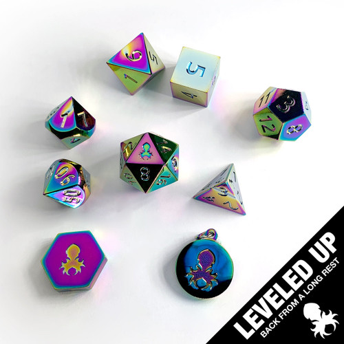Trial By Fire Rainbow Metal RPG Dice Set With Iconic Kraken Logo