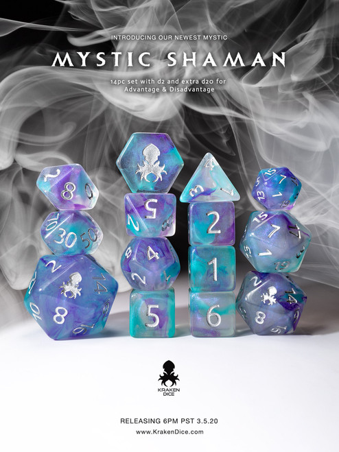 Mystic Shaman 12pc Polyhedral Dice set with Silver Ink