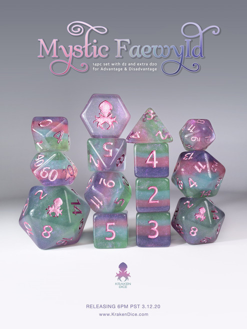 Mystic Faewyld 12pc Polyhedral Dice set with Purple Ink