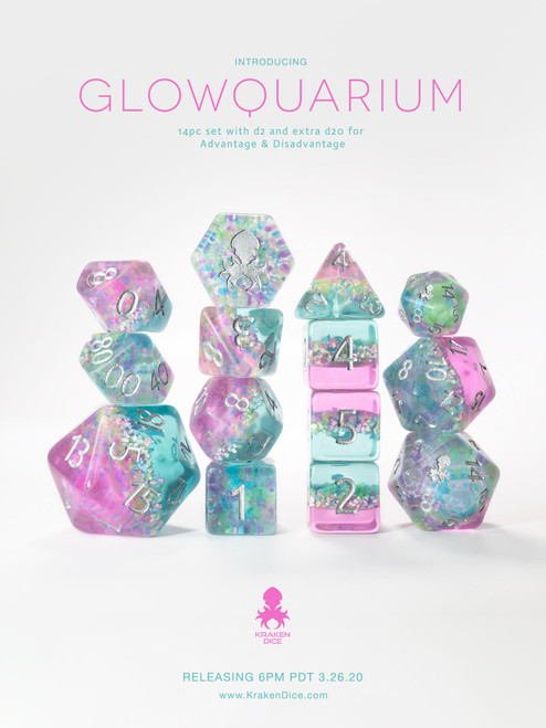 Glowquarium 12pc Polyhedral Dice set with Glow in the Dark Particles