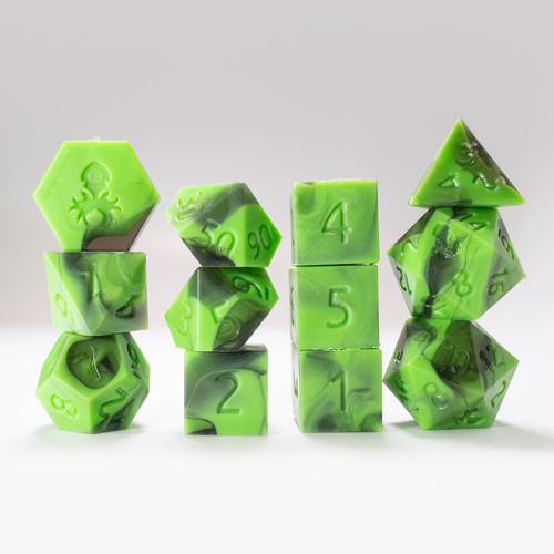 RAW 12pc Green and Black Gummi Polyhedral Dice Set