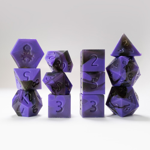 RAW 12pc Purple and Black Gummi Polyhedral Dice Set