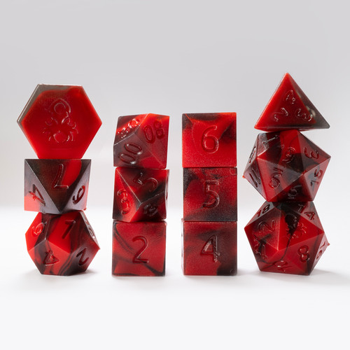 RAW 12pc Red and Black Gummi Polyhedral Dice Set