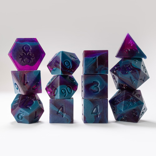 RAW 12pc Purple and Blue Gummi Polyhedral Dice Set