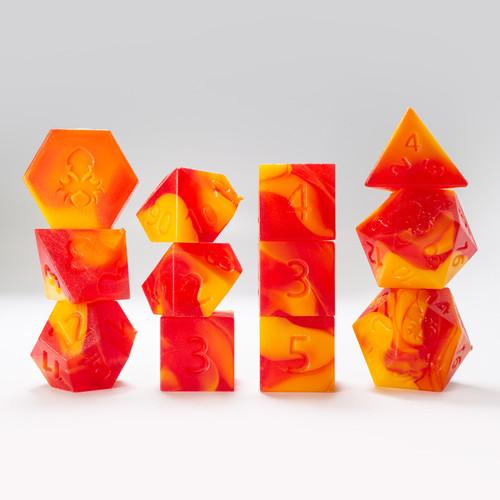 RAW 12pc Light Orange and Red Gummi Blood Orange Polyhedral Dice Set