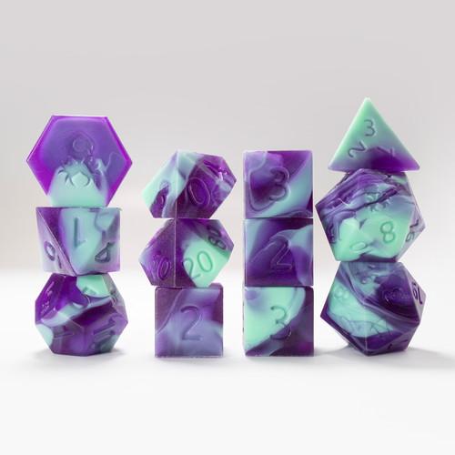 RAW 12pc Teal and Purple Gummi Dragon Polyhedral Dice Set