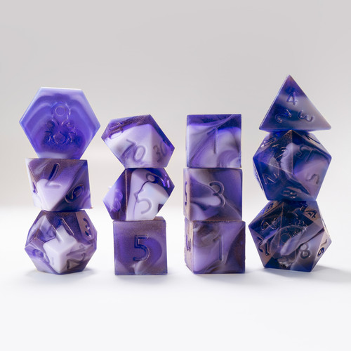 RAW 12pc Light Purple and Purple Gummi Grape Smoothie Polyhedral Dice Set