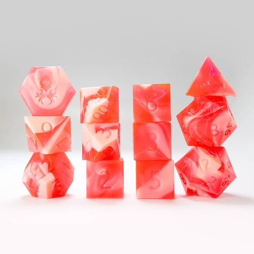RAW 12pc White and Pink Gummi Strawberry Smoothie Polyhedral Dice Set