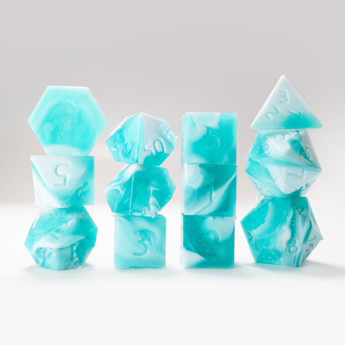 RAW 12pc Teal and White Gummi Baby Shark Do Do Do Do Polyhedral Dice Set
