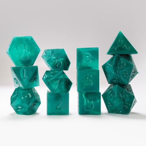 RAW 12pc Green and Dark Green Gummi Polyhedral Dice Se