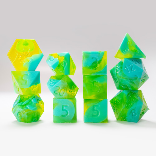 RAW 12pc Green and Light Blue Gummi Polyhedral Dice Set