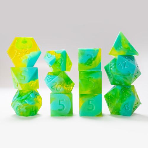 RAW 12pc Green and Light Blue Gummi Polyhedral Dice Set