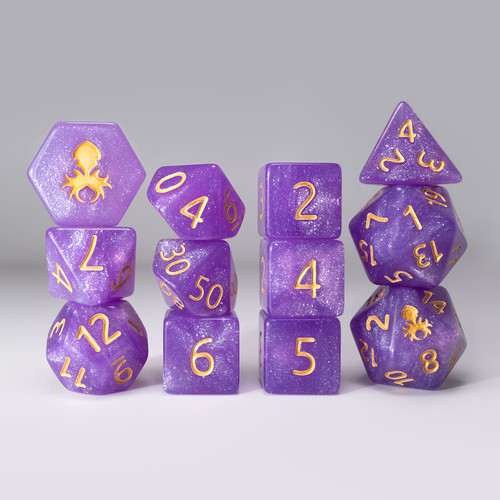 Purple Reins 12pc  Glimmer RPG Dice Set with Gold Ink