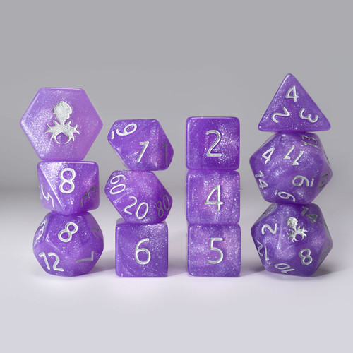 Purple Reins 12pc  Glimmer RPG Dice Set with Silver Ink