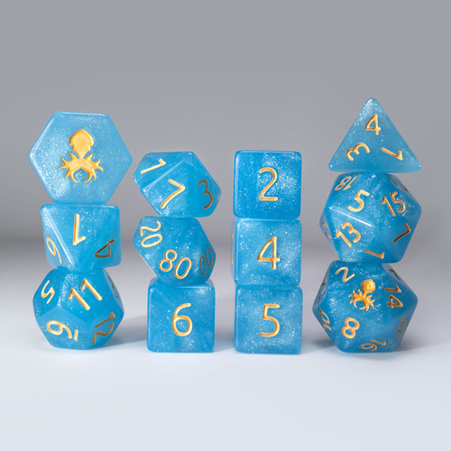 Sea Stout 12pc Glimmer RPG Dice Set with Gold Ink