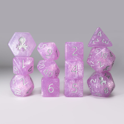 Begonia 12pc Glimmer RPG Dice Set with Silver Ink