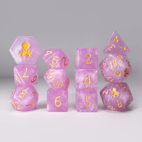 Begonia 12pc Glimmer RPG Dice Set with Gold Ink